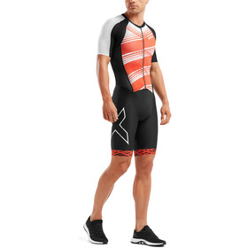2XU Compression Full-Zip Sleeved Trisuit Men black/white flame lines